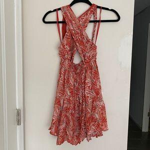 Free People Orange Floral Dress